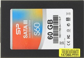 "Накопитель SSD 60 Gb SATA 6Gb/s Silicon Power Slim S60  SP060GBSS3S60S25   2.5"" MLC"