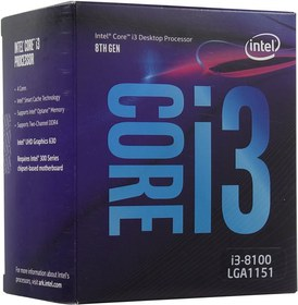 CPU Intel Core i3-8100  BOX   3.6 GHz/4core/SVGA UHD Graphics 630/  6Mb/65W/8 GT/s LGA1151